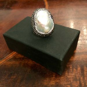Sterling Silver Oyster Ring Faux Pearl SZ 6 NWOT
